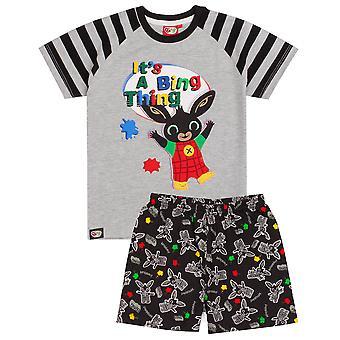 CBeebies Bing Pyjamas For Boys | Boys Grey Bunny Character PJS | Childrens Animation T-Shirt Shorts Merchandise
