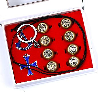 10pcs Ring Set 8 A Creed Adjustable Anime Rings 2 Alloy Pendants With Gift Box