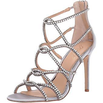 Jewel Badgley Mischka Women's DELANCEY Sandal, silver satin, 8.5 M US