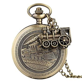 Bronze Train Locomotiva Motor Quartz Pocket Watch/women