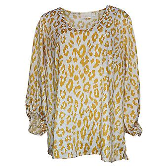 Belle by Kim Gravel Women's Plus Top Charmeuse Blouse Yellow A392593