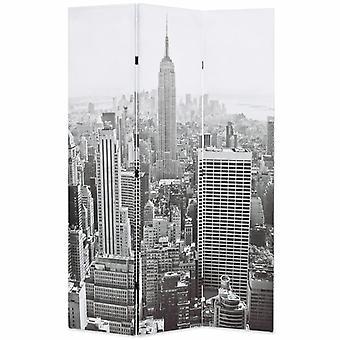 vidaXL huoneenjakaja taitettava 120 x 170 cm New York päivällä Mustavalkoinen