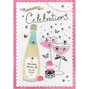 ICG Ltd Open Birthday Card Palladium Range - Champagne