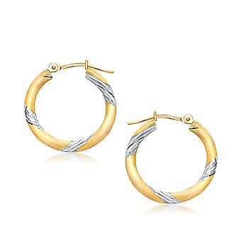 Boucles d'oreilles 14k Two Tone Gold Polished Hoop (20 mm)