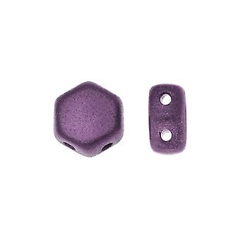 Czech Glass Honeycomb Beads, 2-Hole Hexagon 6mm, 30 Pieces, Pastel Bordeaux