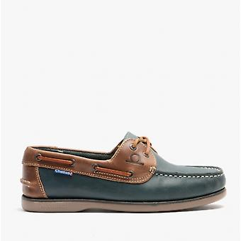 Chatham Whitstable Mens Leather Boat Shoes Navy/tan