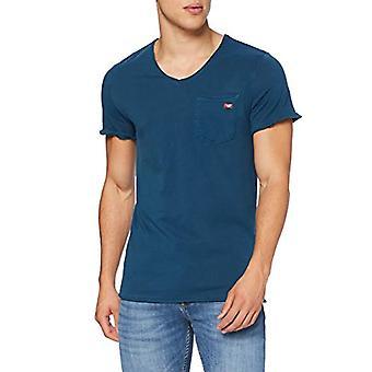 Mustang Washed V-Neck T-Shirt, Mittelblau, S Men