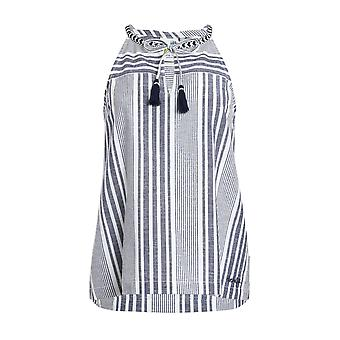 Marciana Striped Woven Top Navy