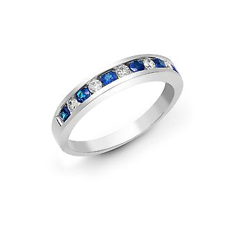 Jewelco London 18ct White Gold Channel Set H SI 0.18ct Diamond and Blue 0.36ct Sapphire Half Eternity Ring 3.5mm