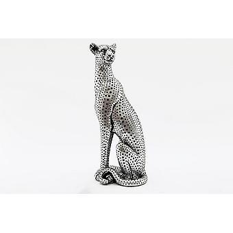 Suuri hopea istuva leopardikorista