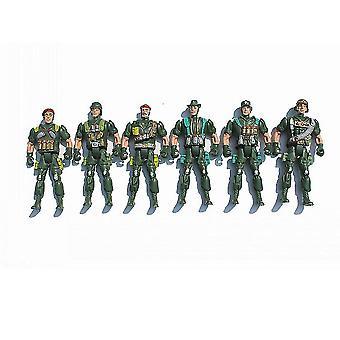 Uudet 6kpl maailmansodan sotilassotilaat asettaa armeijan toimintahahmot leikkisetti 11cm vihreä ES12809