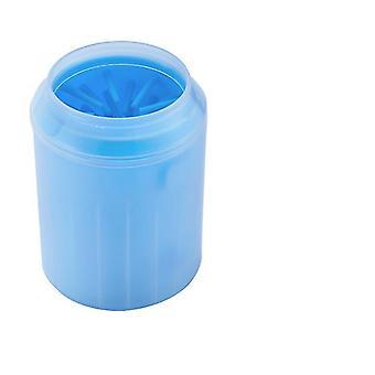 M 8.2 * 11.2 * 6.3cm blå trygg kjæledyr fot bad myk silikon børste az3529