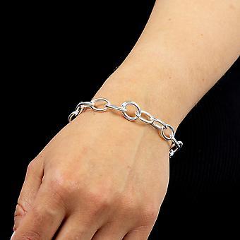 Principios 925 Plata esterlina Eslabón de eslabón de la cadena de eslabón de un solo encanto pulsera de 21cm de longitud
