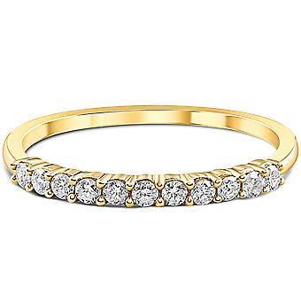 1/4ct 14K Yellow Gold Diamond Wedding Anniversary Ring Band