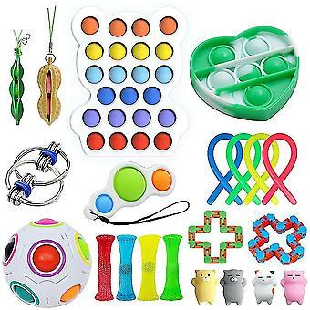 21pcs Anxiety Relief Toys Set Push Pop Bubble Sensory Fidget Toy