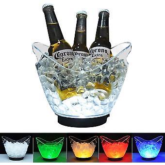 LED-Eiskübel aus transparentem Acryl, 3 Liter, mit Farbwechsel, für Champagner, Wein, Getränke,
