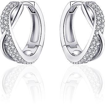 Gisser Jewels - Örhängen - Örhängen korsade med Zirconia - 18mmØ x 6mm - Gerhodineerd Zilver 925