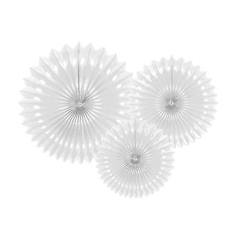 3 White Assorted Size Tissue Paper Fans | Paper Hanging Party Decorations