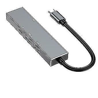 type-c til HDMI-udvidelsesdock, 6-i-1-hub med UNDERSTØTTELSE AF USB 3.0 SD/TF