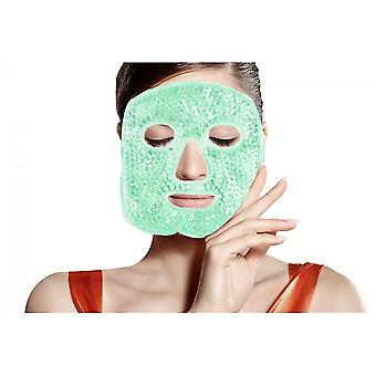 Heated Warm Cooling Reusable Gel Beads Ice Mask,hot Cold Therapy For Facial Pain(Green)