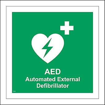 FS192 Aed Automated External Defibrillator Sign with Plus Sign Heart Lightning Bolt