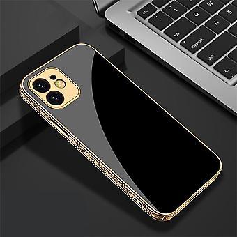 اي فون 12 برو ماكس الفاخرة الزجاج شل الذهب الباروك الأنيق الأسود