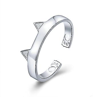 Silver plating Cute Cat Paw Ears Animal Shape Adjustable Finger Rings Party Wedding Jewelry