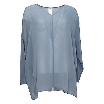 Wynne Layers Women's Top Cowl Neck Mixed Media Poncho Blouse Blue 633852
