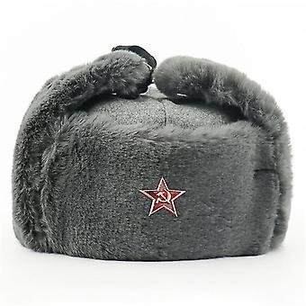 Soviet Army Military Badge Russia Ushanka Bomber Hats Winter Snow Caps