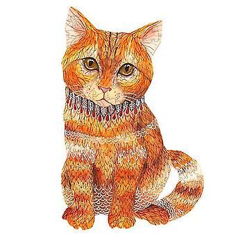 Oranssi kissa puinen palapeli pala peli lapsille ja aikuisille(A5)