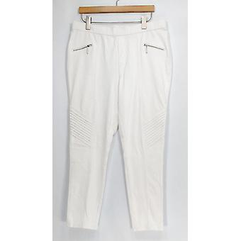 H by Halston Jeans Knit Denim Ankle Length Embellished White