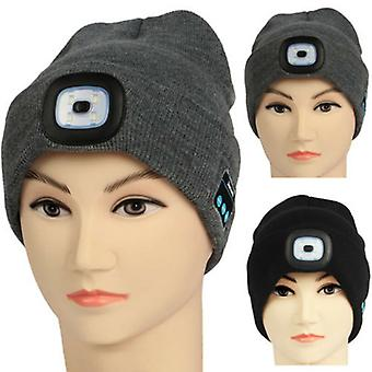 Winter Doudou Hat Wireless Bluetooth 5.0 Smart Hat Headset With 4 Led Lights Hands-free Music Headset Warm Wire Weaving