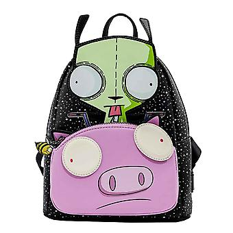 Loungefly Mini Backpack Invader Zim Gir Pig Doom ny officiell Nickelodeon Black