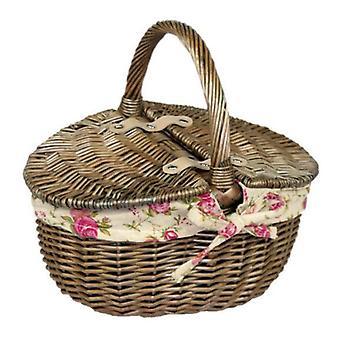 Doppio lavaggio antico piccolo con coperchio ovale Picnic Basket giardino rosa fodera