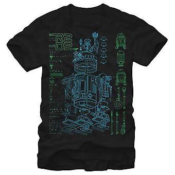 Star Wars Herren Star Wars innen R2 T Shirt schwarz