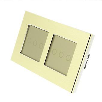 Ik LumoS goud geborsteld Aluminium dubbel Frame 6 bende 2 manier Touch LED zaklamp overschakelen van goud invoegen
