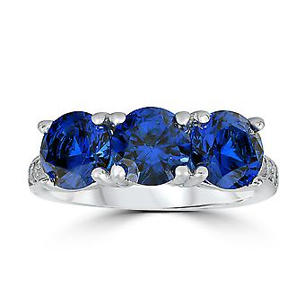 3 3/4ct Diamond & Synthetic Blue Sapphire Ring 10K White Gold 3- Stone
