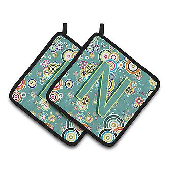 Letter N Circle Circle Teal Initial Alphabet Pair of Pot Holders