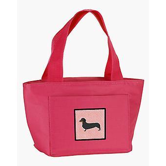 Carolines Schätze BB3582PK-8808 Dackel Schachbrett Pink Lunch-Bag