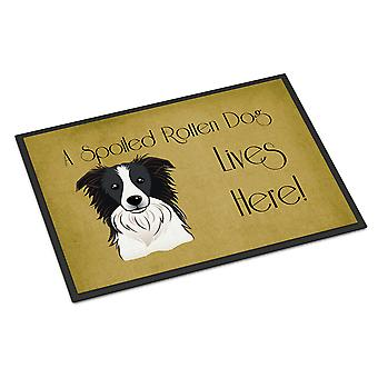 Border Collie Spoiled Dog Lives Here Indoor or Outdoor Mat 18x27