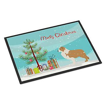 Red Border Collie Merry Christmas Tree Indoor or Outdoor Mat 18x27
