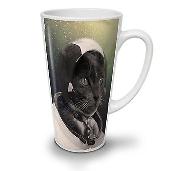 Pilot Animal Space Cat NEW White Tea Coffee Ceramic Latte Mug 12 oz | Wellcoda