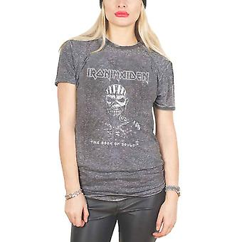Iron Maiden T Shirt Book Of Souls eddie logo Official Unisex slim fit Burnout