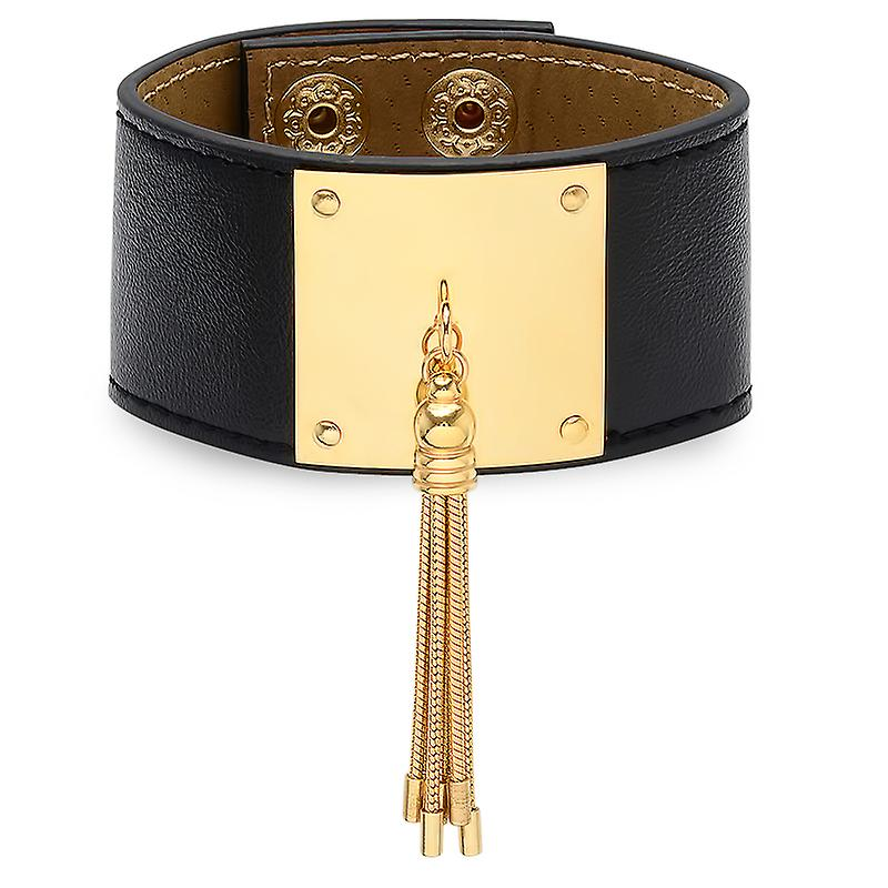 Ladies Adjustable Leather Bracelet In Black