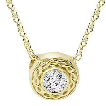 1/10CT Solitaire Round Diamond Braided Pendant 14K Yellow Gold 6MM Wide