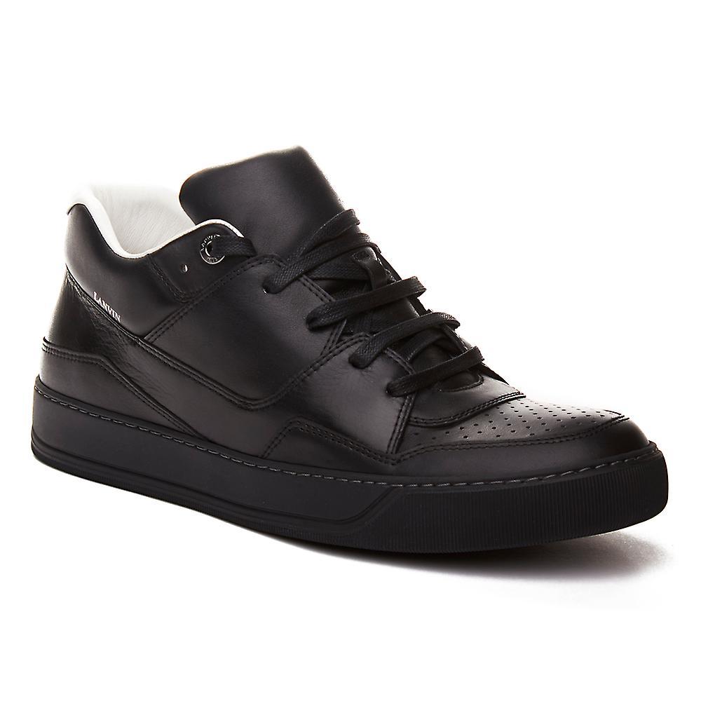 Lanvin Men's Leather Mid-Top Sneaker Shoes Black
