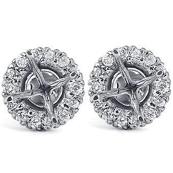 5 / 8ct diament Halo stadniny pasuje do montażu 5.5-6.5 mm okrągłe kamienie 14 k białe złoto
