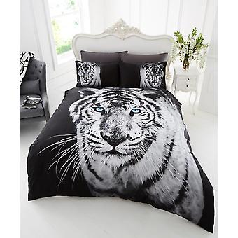 3D Animal White Tiger Premium Duvet Cover Bedding Set Single Double King