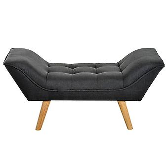 HOMCOM Bedroom Chaise Longue Bed End Side Sofa Sponge Window Seat Modern Linen Cover Arm Bench w/ Oak Wood Leg (without Rivet, Dark Grey)