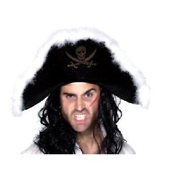 Pirate Hat - musta Velour Marabou (määrä 1)